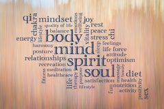 Σώμα, μυαλό, πνεύμα και σύννεφο λέξης ψυχής Στοκ φωτογραφία με δικαίωμα ελεύθερης χρήσης