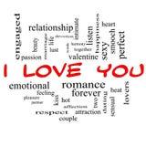 Σ' αγαπώ έννοια σύννεφων του Word στα κόκκινα καλύμματα Στοκ Εικόνες