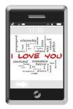 Σ' αγαπώ έννοια σύννεφων του Word στο τηλέφωνο οθονών επαφής Στοκ Φωτογραφίες