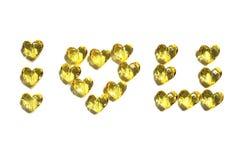 Σ' αγαπώ από το κρύσταλλο μορφής καρδιών Στοκ Εικόνες