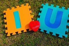 Σ' αγαπώ αλφάβητο με την κόκκινη καρδιά Στοκ εικόνα με δικαίωμα ελεύθερης χρήσης