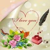 Σ' αγαπώ γράφει σε χαρτί Στοκ Εικόνα