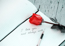 Σ' αγαπώ γραπτή χέρι σημείωση Στοκ εικόνα με δικαίωμα ελεύθερης χρήσης