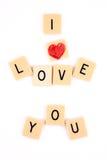 Σ' αγαπώ γραπτός στα κομμάτια σταυρολέξου Στοκ Εικόνα