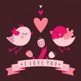 Σ' αγαπώ διανυσματική κάρτα με τα πουλιά, τις καρδιές και τα λουλούδια διανυσματική απεικόνιση