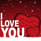 Σ' αγαπώ κάρτα με πολλά το εικονοκύτταρο υποβάθρου 500x500 καρδιών Στοκ Εικόνες