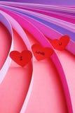 Σ' αγαπώ καρδιές με τις λουρίδες του χρωματισμένου εγγράφου - σειρά 2 Στοκ φωτογραφίες με δικαίωμα ελεύθερης χρήσης