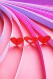 Σ' αγαπώ καρδιές με τις λουρίδες του χρωματισμένου εγγράφου - σειρά 7 Στοκ Εικόνα