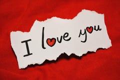 ` Σ' αγαπώ σημείωση ` Στοκ εικόνες με δικαίωμα ελεύθερης χρήσης