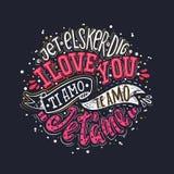 Σ' αγαπώ στο διαφορετικό γλωσσικό χρώμα Στοκ Εικόνες