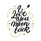 Σ' αγαπώ στο φεγγάρι και την πίσω γραπτή χέρι γράφοντας αφίσα Στοκ φωτογραφία με δικαίωμα ελεύθερης χρήσης
