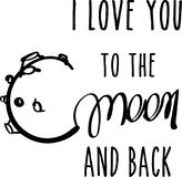 Σ' αγαπώ στο φεγγάρι και την πίσω κάρτα Στοκ Εικόνες