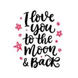 Σ' αγαπώ στο φεγγάρι και την πλάτη Γραπτή χέρι εγγραφή διανυσματική απεικόνιση