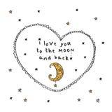 Σ' αγαπώ στο φεγγάρι και την πλάτη Στοκ Εικόνες