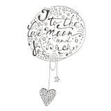 Σ' αγαπώ στο φεγγάρι και την πλάτη Ρομαντική κάρτα με τη χειρόγραφη εγγραφή αποσπάσματος Στοκ Εικόνες