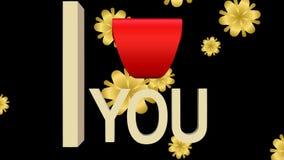 Σ' αγαπώ το έμβλημα σύνθεσε από την κίνηση των επιστολών, κόκκινη καρδιά και την πτώση των χρυσών αφηρημένων λουλουδιών ελεύθερη απεικόνιση δικαιώματος