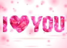 Σ' αγαπώ το μήνυμα αποτέλεσε από τα ρόδινα τρίγωνα Στοκ Φωτογραφία