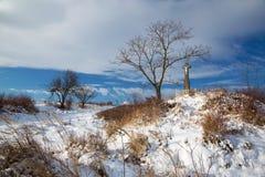 Σλοβακία - ο σταυρός το χειμώνα ladscape κοντά στο χωριό Sebechleby Στοκ Φωτογραφία