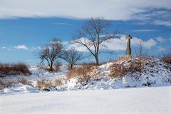 Σλοβακία - ο σταυρός το χειμώνα ladscape κοντά στο χωριό Sebechleby Στοκ φωτογραφία με δικαίωμα ελεύθερης χρήσης