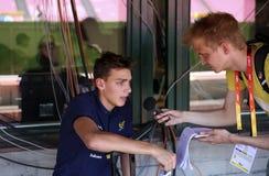 ΤΆΜΠΕΡΕ, ΦΙΝΛΑΝΔΙΑ, στις 9 Ιουλίου: ARMAND ΗΠΑ-βασισμένος στα στο DUPLANTIS Σουηδός στη συνέντευξη τύπου πριν από τον κόσμο U20 C Στοκ φωτογραφίες με δικαίωμα ελεύθερης χρήσης