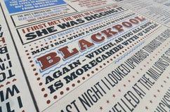 Τάπητας κωμωδίας στο Μπλάκπουλ lancashire, UK στοκ εικόνα