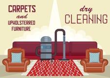 Τάπητες στεγνού καθαρισμού και επικαλυμμένα έπιπλα διανυσματική απεικόνιση