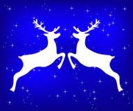 Τάρανδος σε ένα μπλε ακτινοβολώντας υπόβαθρο Χριστουγέννων απεικόνιση αποθεμάτων