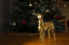 Τάρανδος Santa και χριστουγεννιάτικο δέντρο στοκ φωτογραφία με δικαίωμα ελεύθερης χρήσης