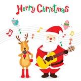 Τάρανδος και Άγιος Βασίλης που τραγουδούν και κιθάρα παιχνιδιού απεικόνιση αποθεμάτων
