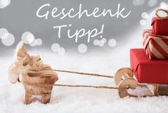 Τάρανδος με το έλκηθρο, ασημένιο υπόβαθρο, άκρη δώρων μέσων Geschenk Tipp Στοκ εικόνα με δικαίωμα ελεύθερης χρήσης