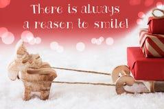 Τάρανδος με το έλκηθρο, κόκκινο υπόβαθρο, χαμόγελο λόγου αποσπάσματος πάντα στοκ εικόνες