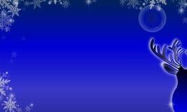 Τάρανδος με το φεγγάρι στη νύχτα Στοκ εικόνα με δικαίωμα ελεύθερης χρήσης