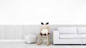 Τάρανδος στο λίκνισμα της καρέκλας στο άσπρο kidroom ή το καθιστικό - τρισδιάστατο ρ Στοκ Φωτογραφία