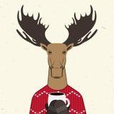 Τάρανδος στο πλεκτό πουλόβερ με τη διακόσμηση Στοκ Εικόνες