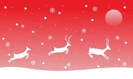 Τάρανδος τοπίων Χριστουγέννων στα κόκκινα υπόβαθρα Στοκ Εικόνα