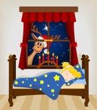 Τάρανδος Χριστουγέννων που εξετάζει μέσω του παραθύρου το μωρό Στοκ εικόνες με δικαίωμα ελεύθερης χρήσης