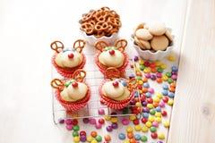 Τάρανδος cupcakes Στοκ φωτογραφία με δικαίωμα ελεύθερης χρήσης
