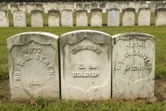Τάφοι των άγνωστων στρατιωτών, του εθνικού πάρκου Andersonville ή του στρατόπεδου Sumter, της φυλακής εμφύλιου πολέμου και του νε Στοκ φωτογραφία με δικαίωμα ελεύθερης χρήσης