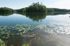 Τέλεια αντανακλαστική λίμνη ακόμα ως γυαλί στοκ εικόνα