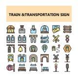 Τέλεια εικονίδια εικονοκυττάρου σημαδιών μεταφορών τραίνων που τίθενται στο γεμισμένο ύφος περιλήψεων διανυσματική απεικόνιση