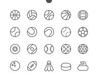 Τέλεια καλά-επεξεργασμένα διανυσματικά λεπτά εικονίδια 48x48 γραμμών εικονοκυττάρου αθλητικών σφαιρών UI έτοιμα για το πλέγμα 24x Στοκ Εικόνες