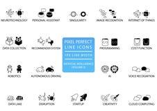 Τέλεια λεπτά εικονίδια και σύμβολα γραμμών εικονοκυττάρου που τίθενται για την τεχνητή νοημοσύνη/το AI Στοκ Φωτογραφία