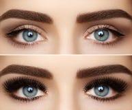Τέλεια μορφή των φρυδιών και των εξαιρετικά μακροχρόνιων eyelashes Μακρο πυροβολισμός του visage ματιών μόδας Πριν και μετά από στοκ φωτογραφίες