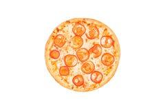 Τέλεια πίτσα Μαργαρίτα με τις φέτες ντοματών που απομονώνεται σε ένα άσπρο υπόβαθρο Τοπ όψη Στοκ Εικόνες