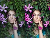 Τέλεια το πορτρέτο κοριτσιών - πριν και μετά Στοκ Εικόνα