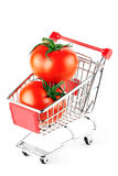 τέλειες ντομάτες αγορών κάρρων Στοκ φωτογραφίες με δικαίωμα ελεύθερης χρήσης