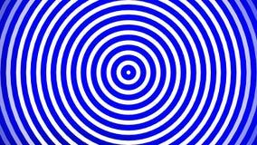 Τέλειο άνευ ραφής μήκος σε πόδηα βρόχων 4K Ζωντανεψοντα κυμαιμένος κύκλοι ή ραδιο κύματα Λευκό, μπλε διανυσματική απεικόνιση