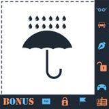 Εικονίδιο ομπρελών και βροχής επίπεδο διανυσματική απεικόνιση