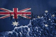 Τέλος του σημαδιού διακοπών και του υποβάθρου κυμάτων θάλασσας ή σύσταση με το συνδυασμό των σημαιών της Αυστραλίας Στοκ Εικόνες