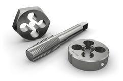 Τέμνοντα εργαλεία νημάτων (βρύση και κύβος) ελεύθερη απεικόνιση δικαιώματος